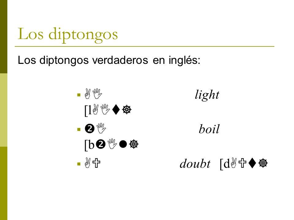 Los diptongos AI light [lAIt] I boil [bIl] AU doubt [dAUt]